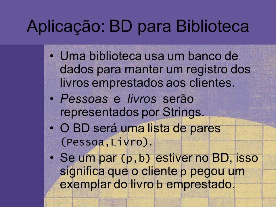 Aplicação: BD para Biblioteca Uma biblioteca usa um banco de dados para manter um registro dos livros emprestados aos clientes. Pessoas e livros serão