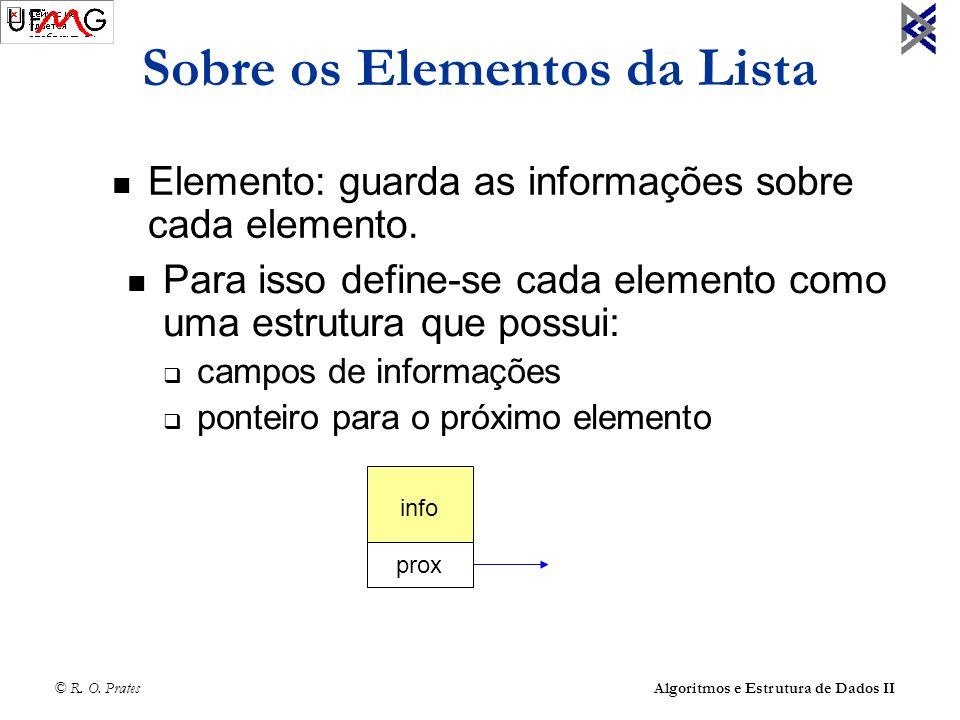 © R. O. Prates Algoritmos e Estrutura de Dados II Sobre os Elementos da Lista Elemento: guarda as informações sobre cada elemento. Para isso define-se