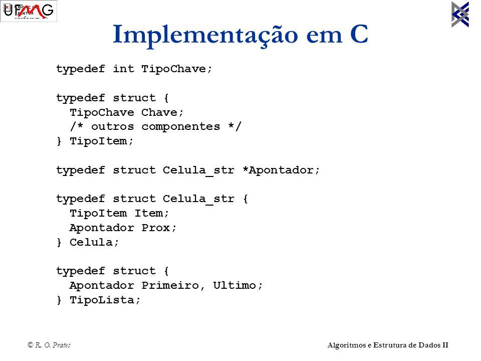 © R. O. Prates Algoritmos e Estrutura de Dados II Implementação em C typedef int TipoChave; typedef struct { TipoChave Chave; /* outros componentes */