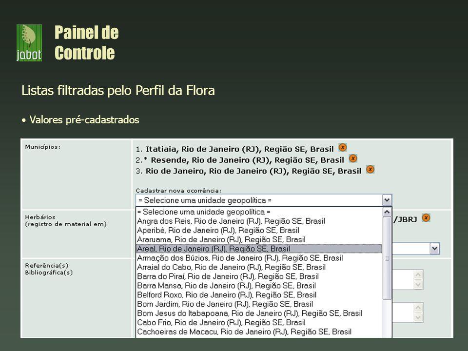 Listas filtradas pelo Perfil da Flora Valores pré-cadastrados Painel de Controle