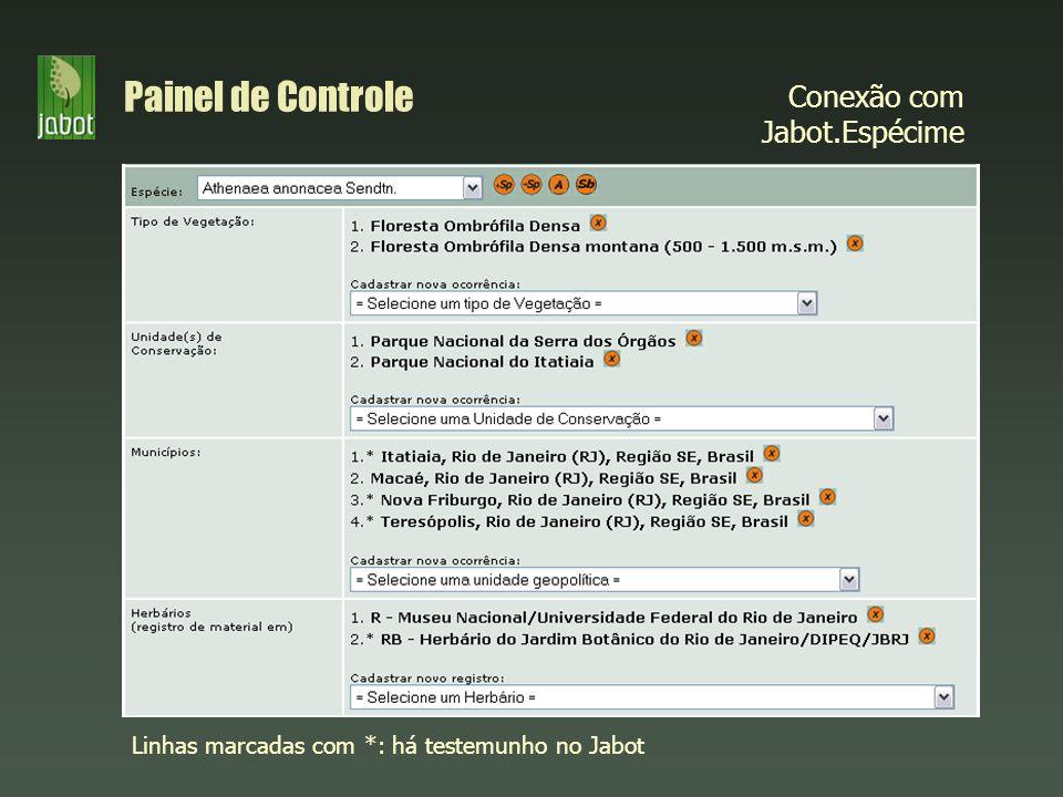 Conexão com Jabot.Espécime Painel de Controle Linhas marcadas com *: há testemunho no Jabot