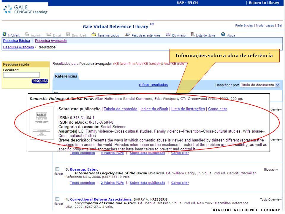 VIRTUAL REFERENCE LIBRARY Informações sobre a obra de referência