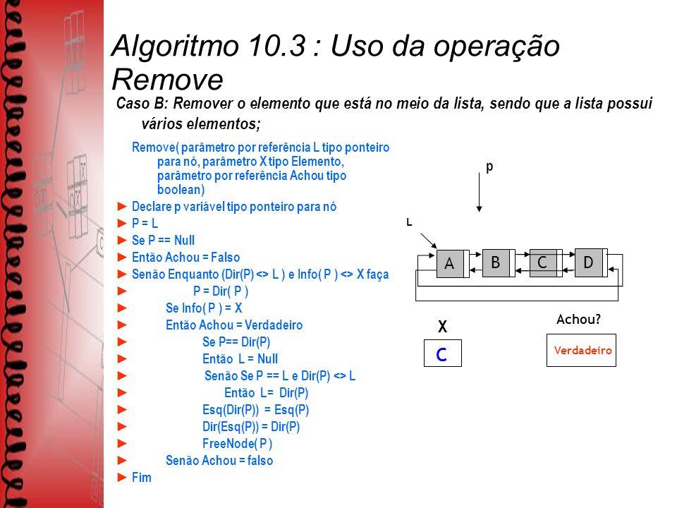 Algoritmo 10.3 : Uso da operação Remove Remove( parâmetro por referência L tipo ponteiro para nó, parâmetro X tipo Elemento, parâmetro por referência Achou tipo boolean) Declare p variável tipo ponteiro para nó P = L Se P == Null Então Achou = Falso Senão Enquanto (Dir(P) <> L ) e Info( P ) <> X faça P = Dir( P ) Se Info( P ) = X Então Achou = Verdadeiro Se P== Dir(P) Então L = Null Senão Se P == L e Dir(P) <> L Então L= Dir(P) Esq(Dir(P)) = Esq(P) Dir(Esq(P)) = Dir(P) FreeNode( P ) Senão Achou = falso Fim L ABCD Achou.