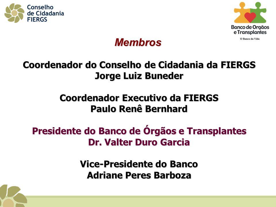 Coordenador do Conselho de Cidadania da FIERGS Jorge Luiz Buneder Coordenador Executivo da FIERGS Paulo Renê Bernhard Presidente do Banco de Órgãos e