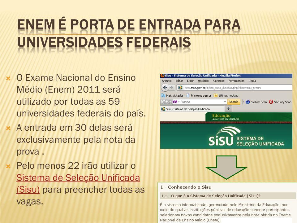 O Exame Nacional do Ensino Médio (Enem) 2011 será utilizado por todas as 59 universidades federais do país. A entrada em 30 delas será exclusivamente
