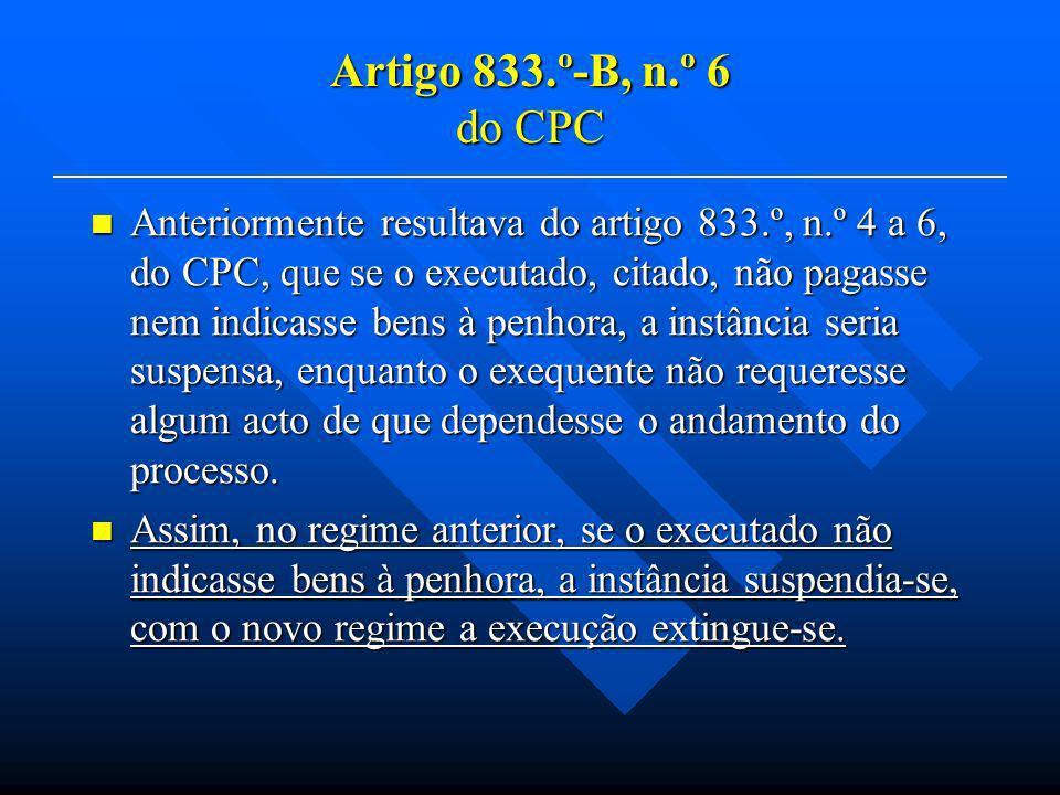 Artigo 833.º-B, n.º 6 do CPC Anteriormente resultava do artigo 833.º, n.º 4 a 6, do CPC, que se o executado, citado, não pagasse nem indicasse bens à penhora, a instância seria suspensa, enquanto o exequente não requeresse algum acto de que dependesse o andamento do processo.