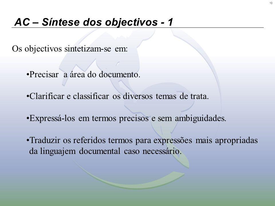 10 AC – Síntese dos objectivos - 1 Os objectivos sintetizam-se em: Precisar a área do documento. Clarificar e classificar os diversos temas de trata.