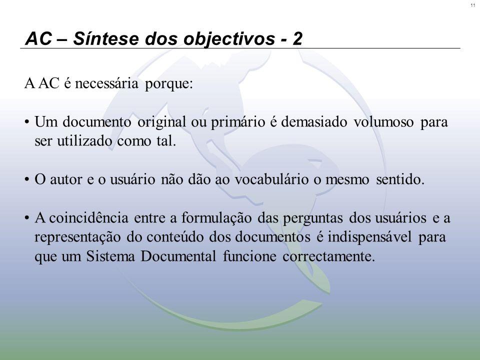 11 AC – Síntese dos objectivos - 2 A AC é necessária porque: Um documento original ou primário é demasiado volumoso para ser utilizado como tal. O aut