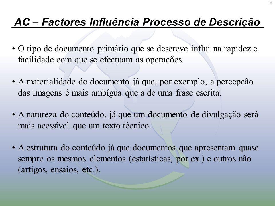 13 AC – Factores Influência Processo de Descrição O tipo de documento primário que se descreve influi na rapidez e facilidade com que se efectuam as o