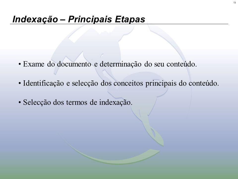 19 Indexação – Principais Etapas Exame do documento e determinação do seu conteúdo. Identificação e selecção dos conceitos principais do conteúdo. Sel