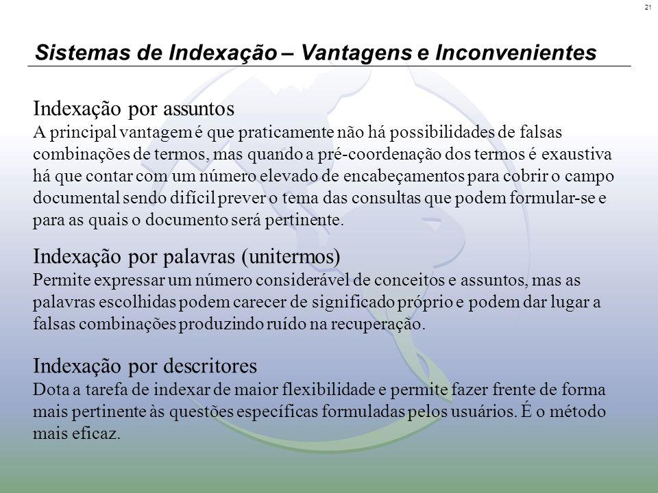 21 Sistemas de Indexação – Vantagens e Inconvenientes Indexação por assuntos A principal vantagem é que praticamente não há possibilidades de falsas c