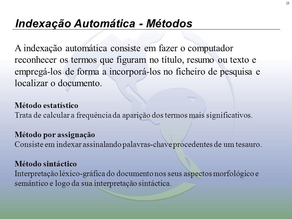 25 Indexação Automática - Métodos A indexação automática consiste em fazer o computador reconhecer os termos que figuram no título, resumo ou texto e