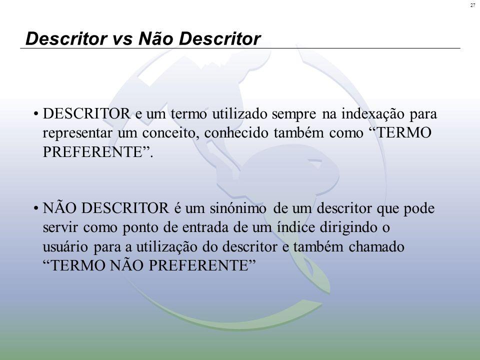 27 Descritor vs Não Descritor DESCRITOR e um termo utilizado sempre na indexação para representar um conceito, conhecido também como TERMO PREFERENTE.