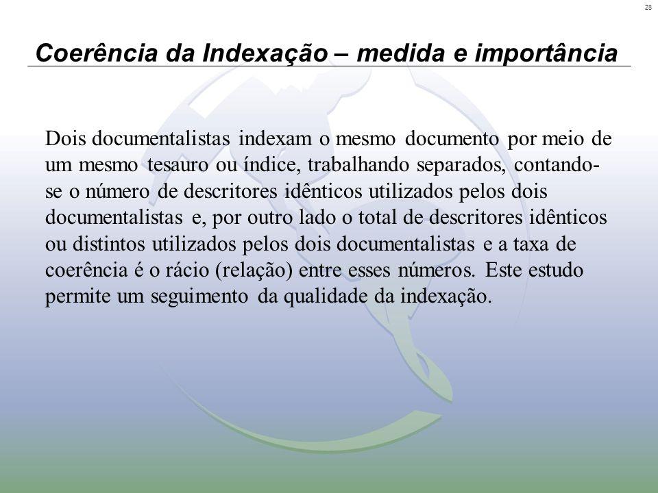 28 Coerência da Indexação – medida e importância Dois documentalistas indexam o mesmo documento por meio de um mesmo tesauro ou índice, trabalhando se