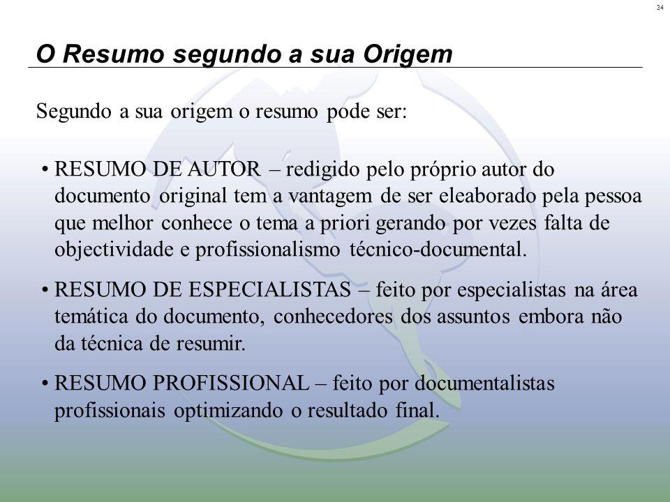34 O Resumo segundo a sua Origem Segundo a sua origem o resumo pode ser: RESUMO DE AUTOR – redigido pelo próprio autor do documento original tem a van