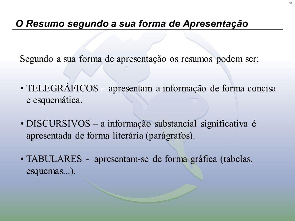 37 O Resumo segundo a sua forma de Apresentação TELEGRÁFICOS – apresentam a informação de forma concisa e esquemática. DISCURSIVOS – a informação subs