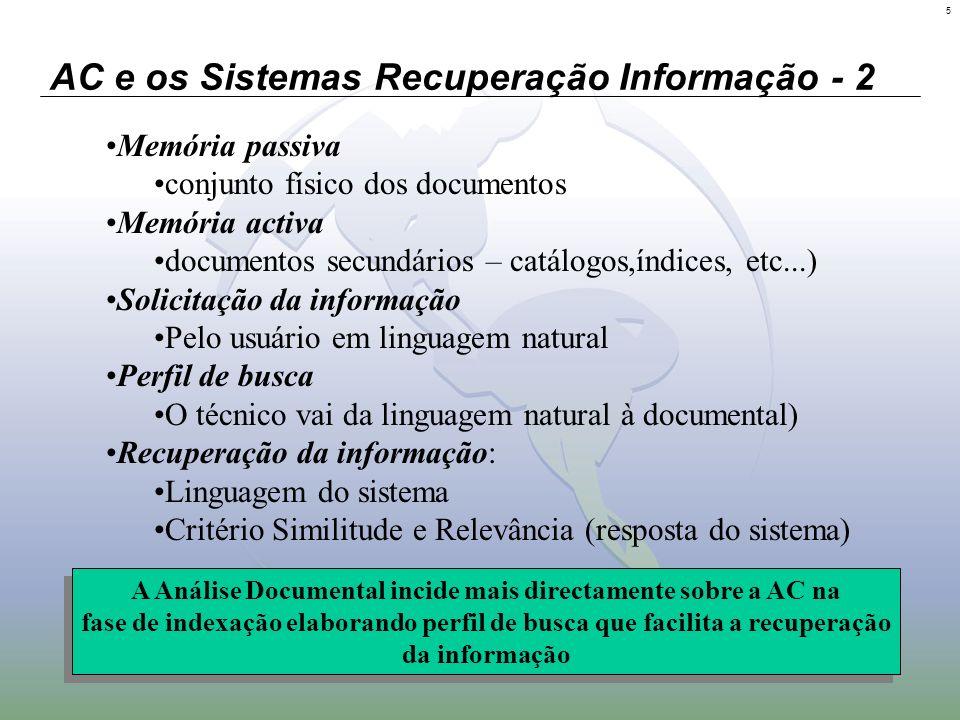 5 AC e os Sistemas Recuperação Informação - 2 Memória passiva conjunto físico dos documentos Memória activa documentos secundários – catálogos,índices