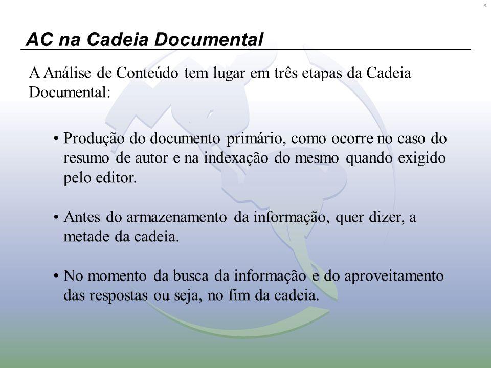 8 AC na Cadeia Documental A Análise de Conteúdo tem lugar em três etapas da Cadeia Documental: Produção do documento primário, como ocorre no caso do
