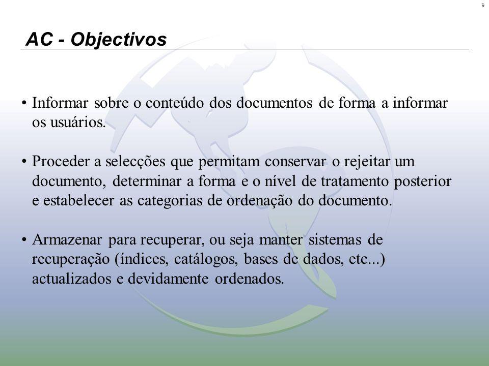 9 AC - Objectivos Informar sobre o conteúdo dos documentos de forma a informar os usuários. Proceder a selecções que permitam conservar o rejeitar um