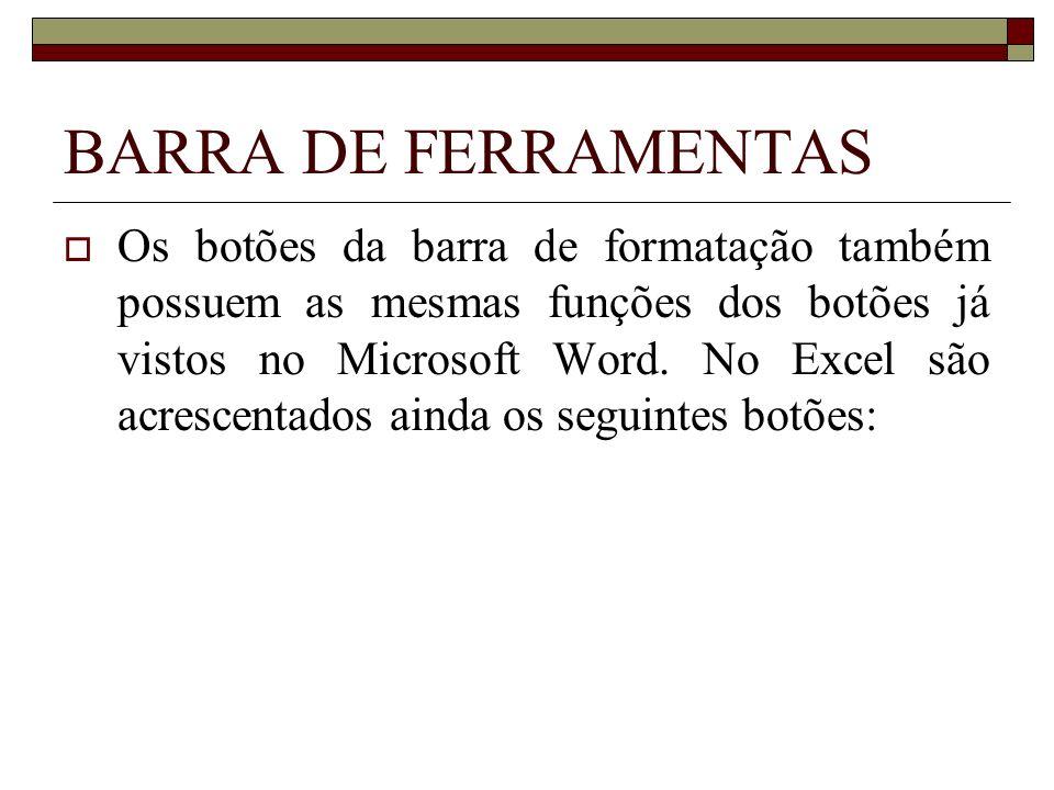 BARRA DE FERRAMENTAS Os botões da barra de formatação também possuem as mesmas funções dos botões já vistos no Microsoft Word. No Excel são acrescenta