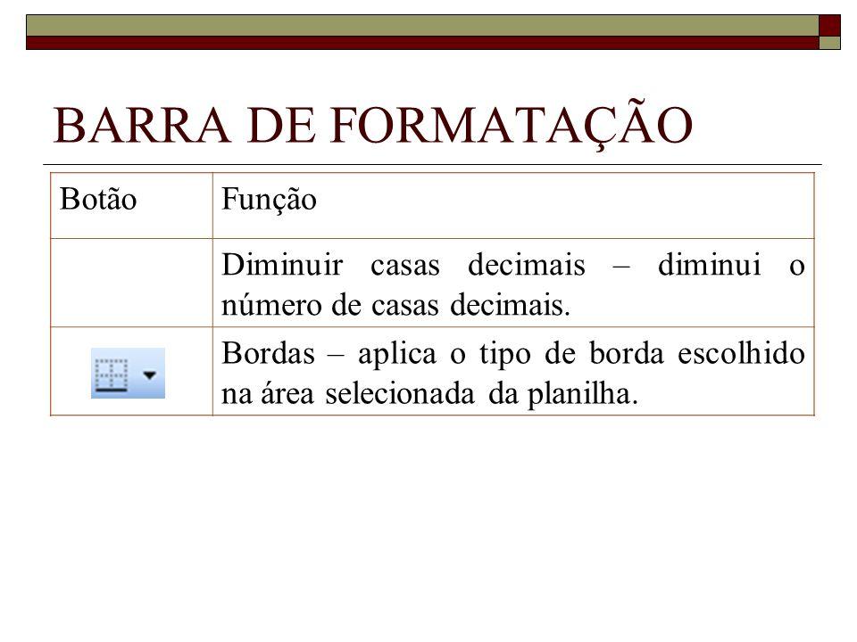 BARRA DE FORMATAÇÃO BotãoFunção Diminuir casas decimais – diminui o número de casas decimais. Bordas – aplica o tipo de borda escolhido na área seleci