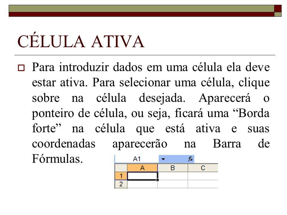 CÉLULA ATIVA Para introduzir dados em uma célula ela deve estar ativa. Para selecionar uma célula, clique sobre na célula desejada. Aparecerá o pontei