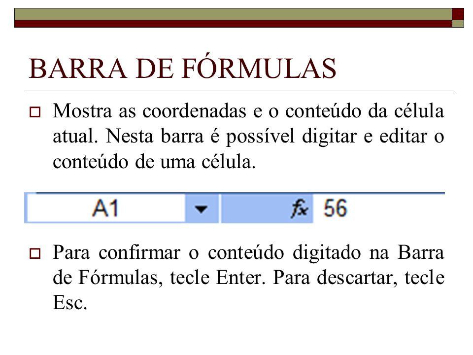 BARRA DE FÓRMULAS Mostra as coordenadas e o conteúdo da célula atual. Nesta barra é possível digitar e editar o conteúdo de uma célula. Para confirmar