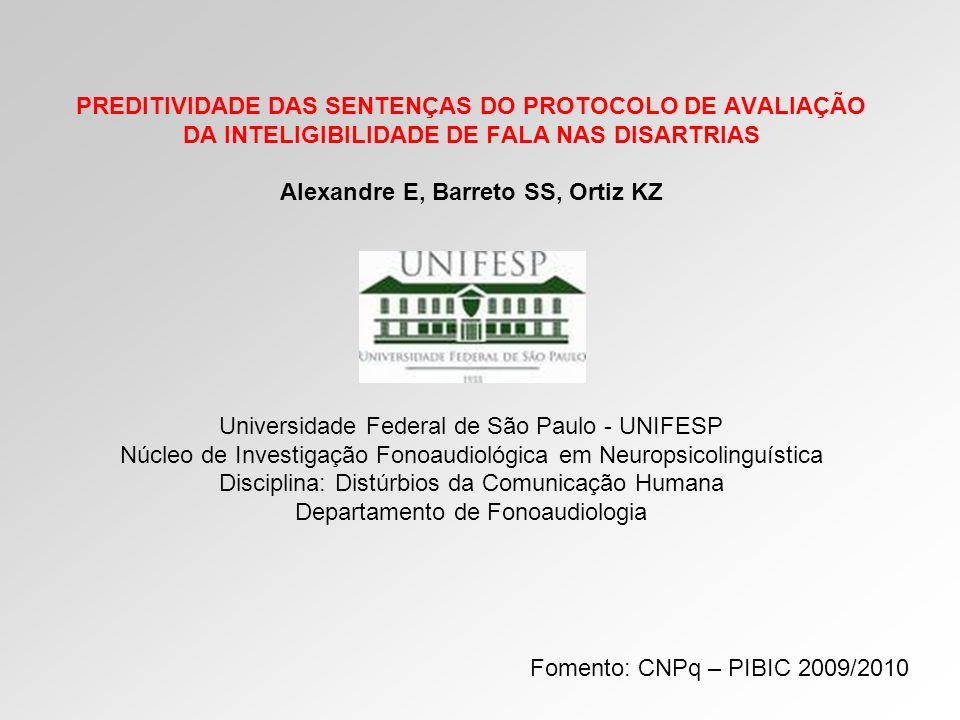OBJETIVO: Analisar a preditividade das sentenças utilizadas no Protocolo de Avaliação da Inteligibilidade da Fala (PAIF) nas disartrias.
