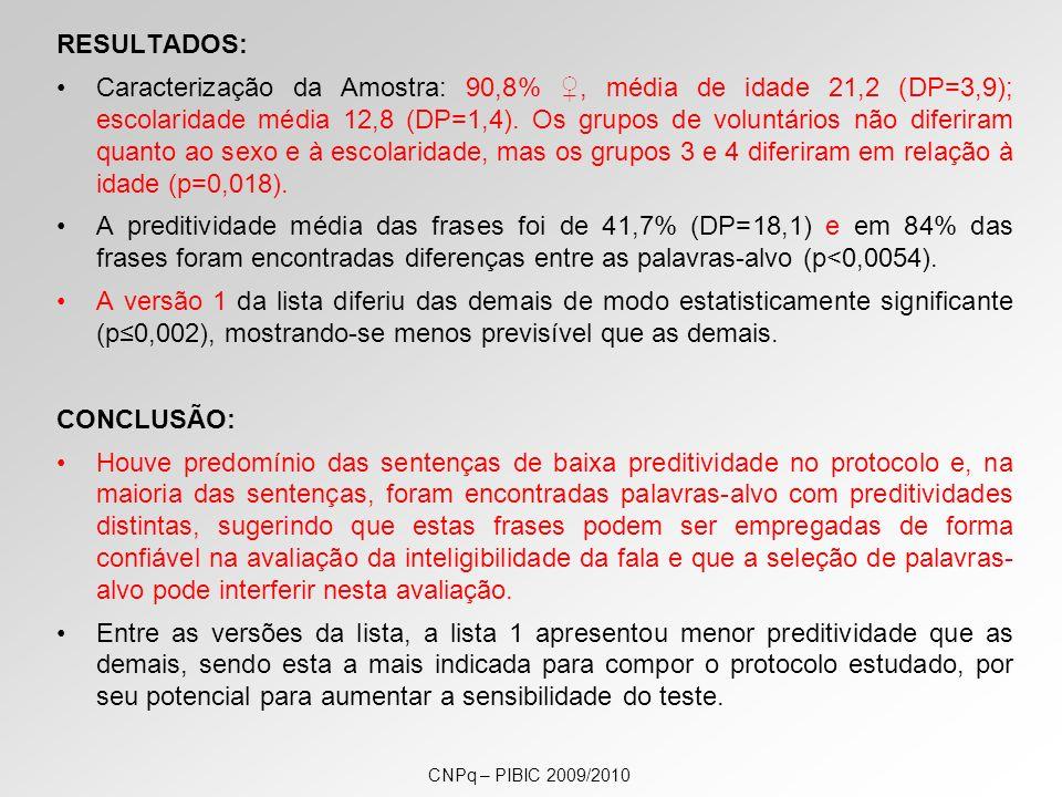 RESULTADOS: Caracterização da Amostra: 90,8%, média de idade 21,2 (DP=3,9); escolaridade média 12,8 (DP=1,4).
