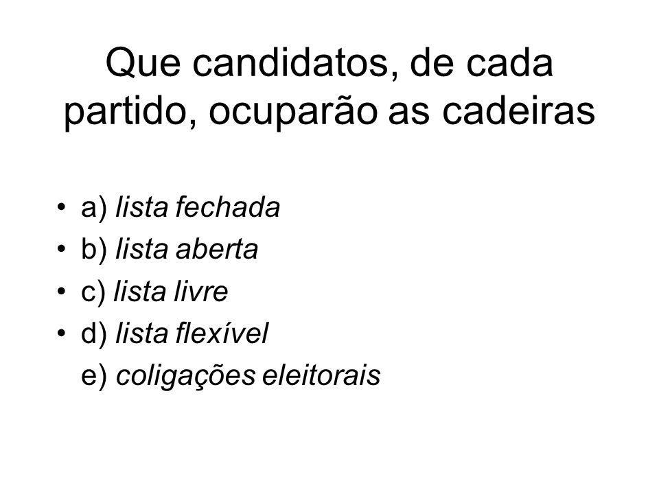 Que candidatos, de cada partido, ocuparão as cadeiras a) lista fechada b) lista aberta c) lista livre d) lista flexível e) coligações eleitorais