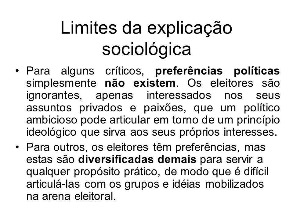 Explicação ideológica Na versão ideológica, o número de partidos de um sistema partidário decorreria do número de opiniões relevantes existentes na sociedade.