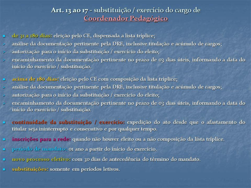 Art. 13 ao 17 - substituição / exercício do cargo de Coordenador Pedagógico de 31 a 180 dias: eleição pelo CE, dispensada a lista tríplice; de 31 a 18