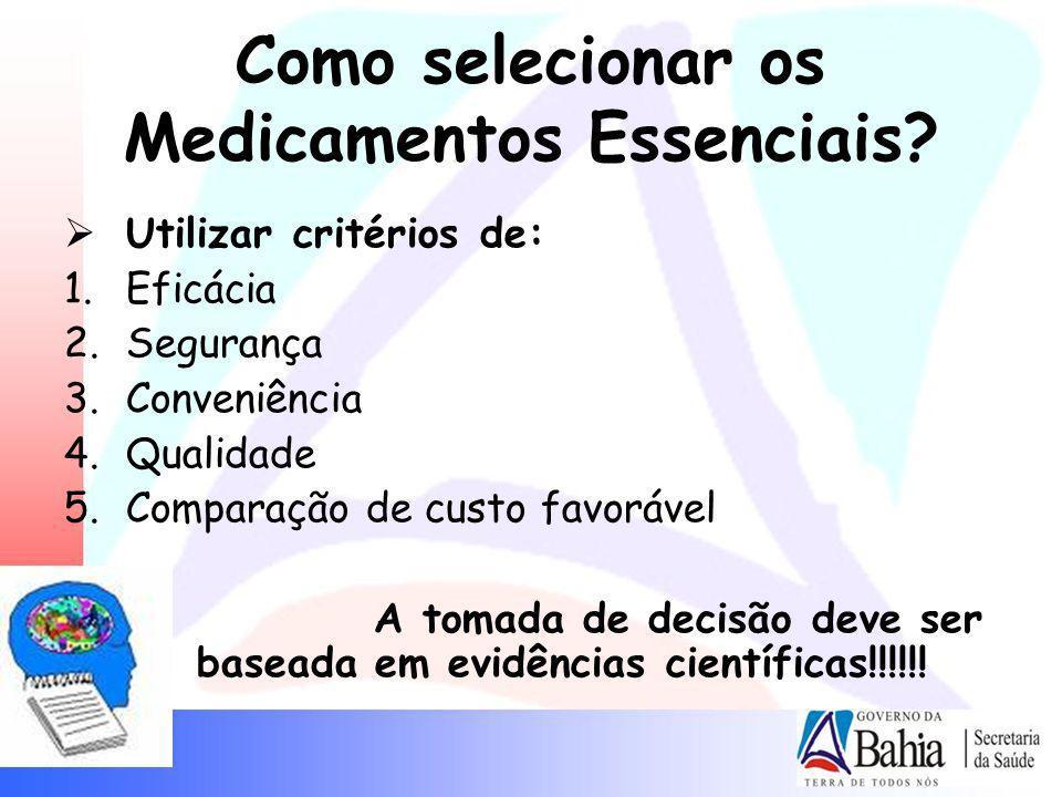 Como selecionar os Medicamentos Essenciais? Utilizar critérios de: 1.Eficácia 2.Segurança 3.Conveniência 4.Qualidade 5.Comparação de custo favorável A