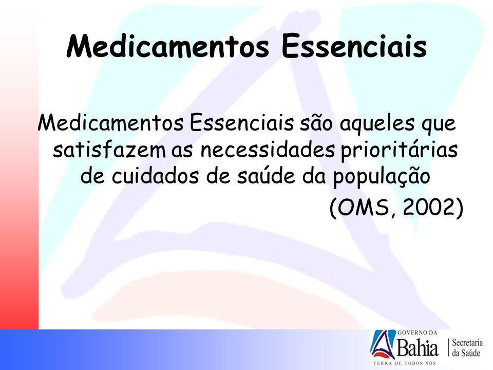 Medicamentos Essenciais Medicamentos Essenciais são aqueles que satisfazem as necessidades prioritárias de cuidados de saúde da população (OMS, 2002)