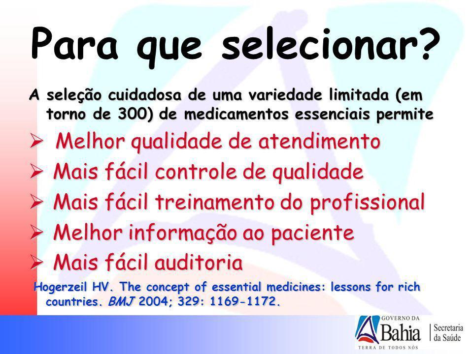 Para que selecionar? A seleção cuidadosa de uma variedade limitada (em torno de 300) de medicamentos essenciais permite Melhor qualidade de atendiment