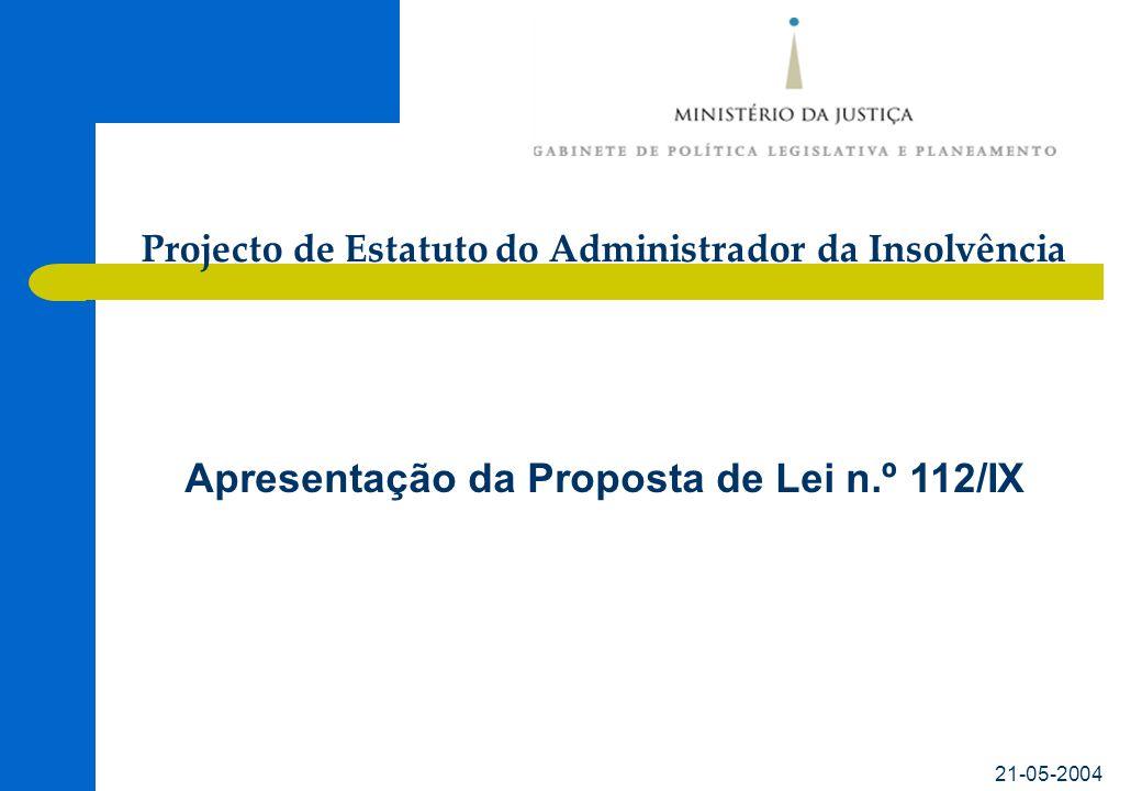21-05-2004 Apresentação da Proposta de Lei n.º 112/IX Projecto de Estatuto do Administrador da Insolvência