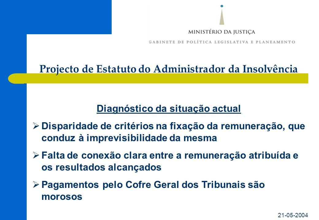 21-05-2004 Diagnóstico da situação actual Disparidade de critérios na fixação da remuneração, que conduz à imprevisibilidade da mesma Falta de conexão