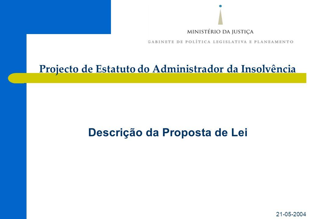 21-05-2004 Descrição da Proposta de Lei Projecto de Estatuto do Administrador da Insolvência