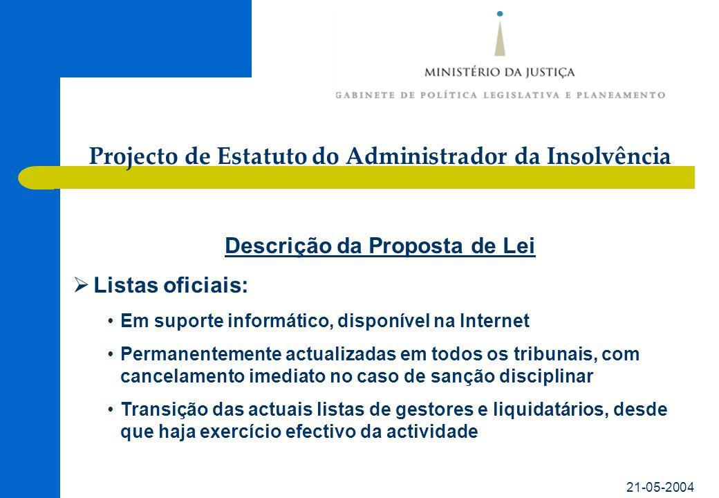 21-05-2004 Descrição da Proposta de Lei Listas oficiais: Em suporte informático, disponível na Internet Permanentemente actualizadas em todos os tribu
