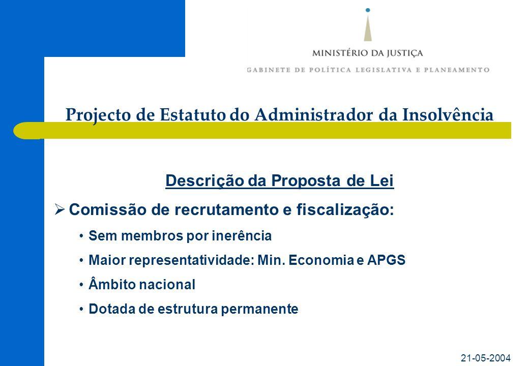 21-05-2004 Descrição da Proposta de Lei Comissão de recrutamento e fiscalização: Sem membros por inerência Maior representatividade: Min.