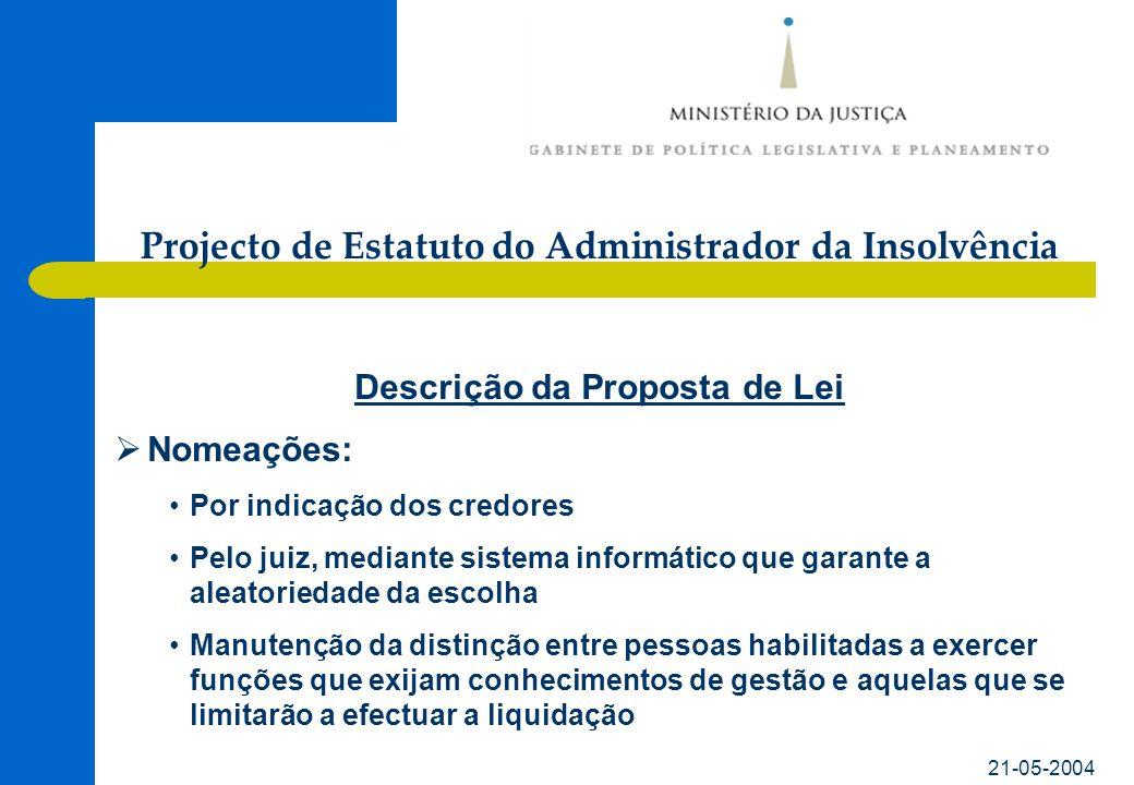 21-05-2004 Descrição da Proposta de Lei Nomeações: Por indicação dos credores Pelo juiz, mediante sistema informático que garante a aleatoriedade da e