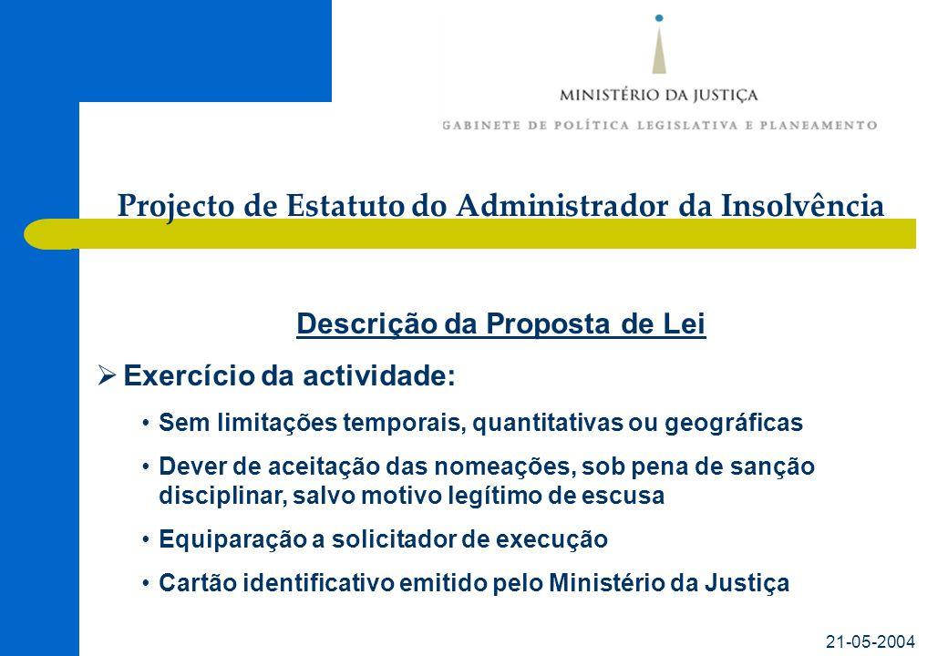 21-05-2004 Descrição da Proposta de Lei Exercício da actividade: Sem limitações temporais, quantitativas ou geográficas Dever de aceitação das nomeaçõ