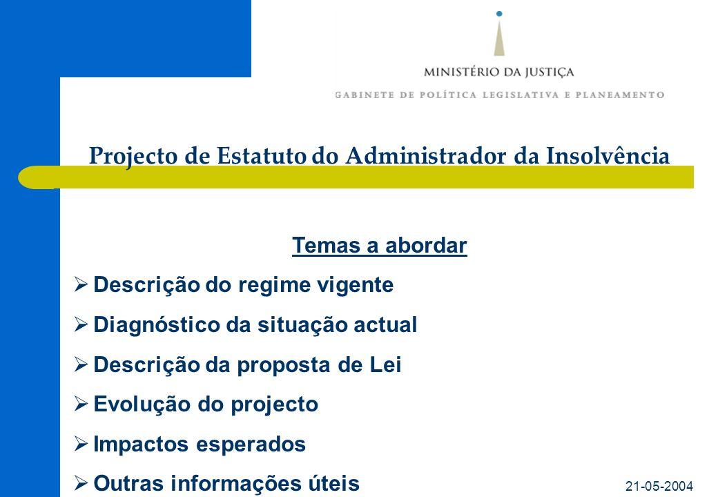 21-05-2004 Temas a abordar Descrição do regime vigente Diagnóstico da situação actual Descrição da proposta de Lei Evolução do projecto Impactos esper