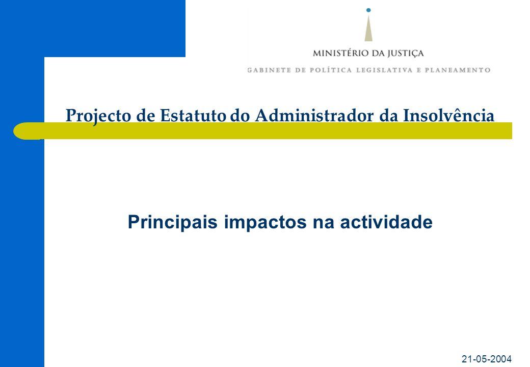21-05-2004 Principais impactos na actividade Projecto de Estatuto do Administrador da Insolvência