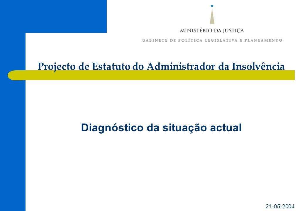 21-05-2004 Diagnóstico da situação actual Projecto de Estatuto do Administrador da Insolvência