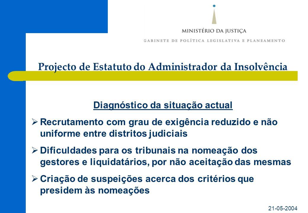 21-05-2004 Diagnóstico da situação actual Recrutamento com grau de exigência reduzido e não uniforme entre distritos judiciais Dificuldades para os tr
