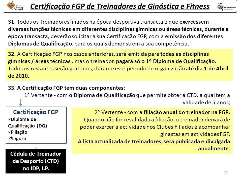 Certificação FGP Diploma de Qualificação (DQ) Filiação Seguro Cédula de Treinador de Desporto (CTD) no IDP, I.P.