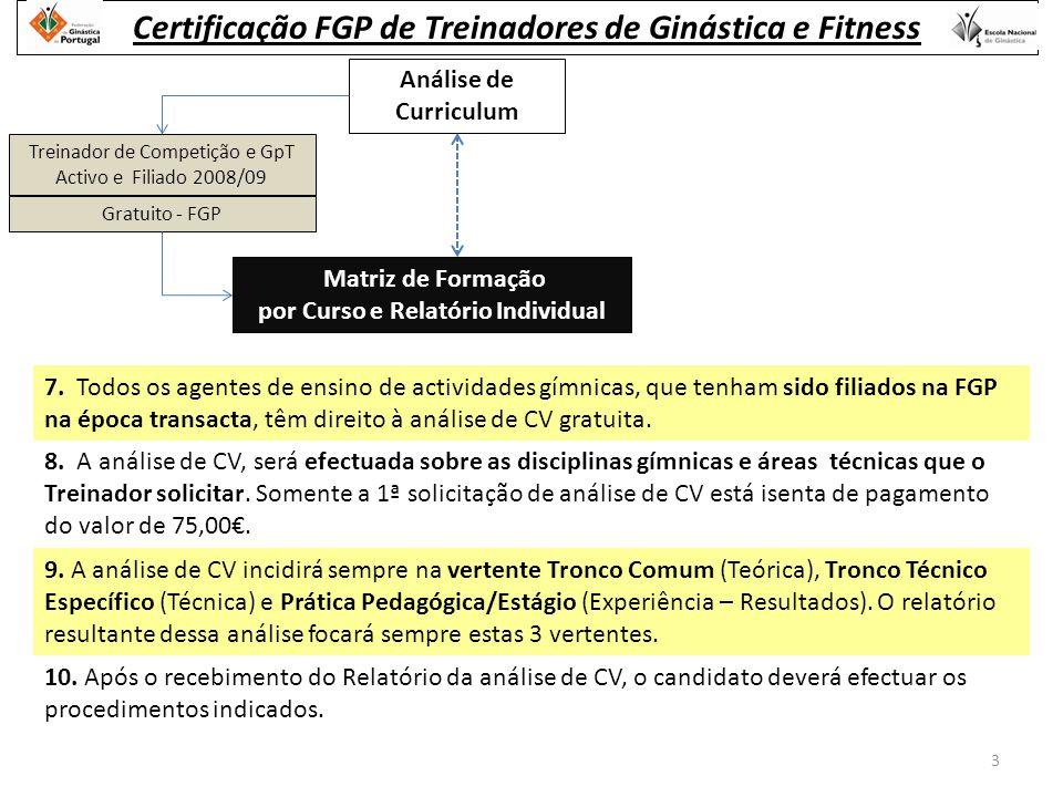 Análise de Curriculum Treinador de Competição e GpT Activo e Filiado 2008/09 Gratuito - FGP Matriz de Formação por Curso e Relatório Individual 7.