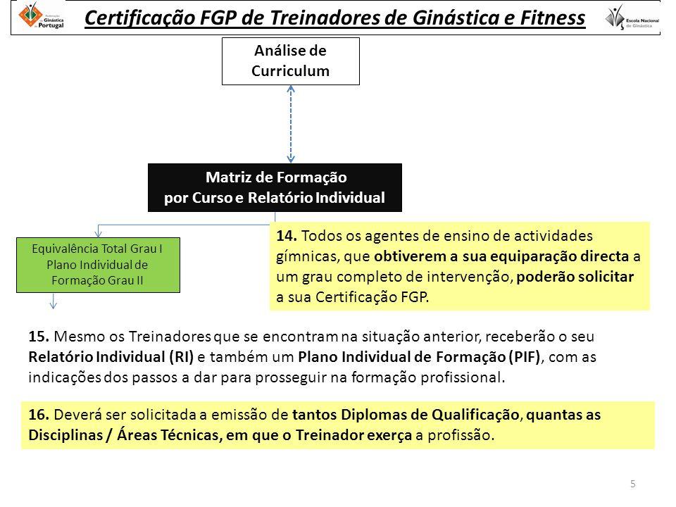 Análise de Curriculum Equivalência Total Grau I Plano Individual de Formação Grau II Matriz de Formação por Curso e Relatório Individual 15.
