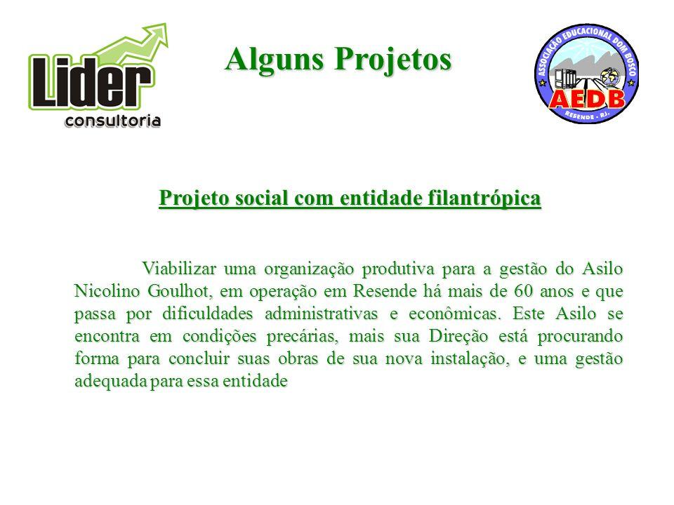 Alguns Projetos Projeto social com entidade filantrópica Viabilizar uma organização produtiva para a gestão do Asilo Nicolino Goulhot, em operação em Resende há mais de 60 anos e que passa por dificuldades administrativas e econômicas.